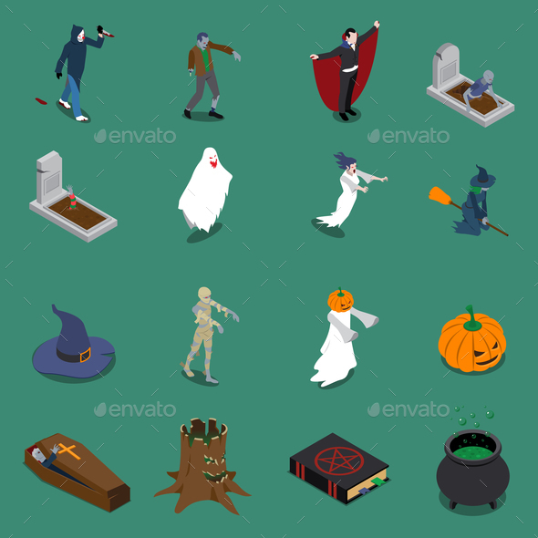 Monster Halloween Isometric Icon Set - Halloween Seasons/Holidays