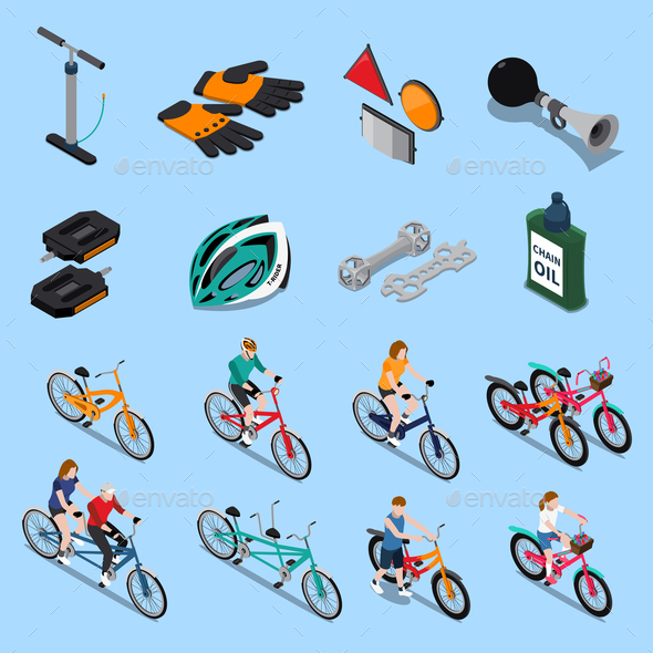 Bicycle Isometric Icon Set