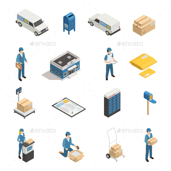 Postal Service Isometric Icons Set - Industries Business