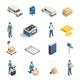Postal Service Isometric Icons Set
