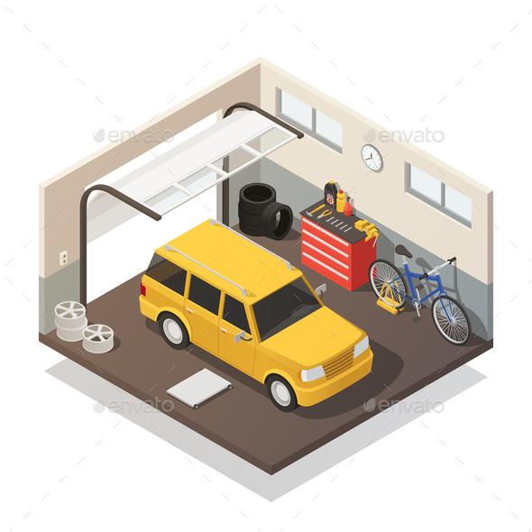 Car Maintenance Service Isometric Interior - Miscellaneous Vectors
