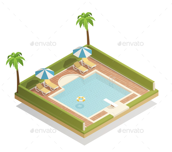 Swimming Pool Outdoor Isometric Composition - Sports/Activity Conceptual