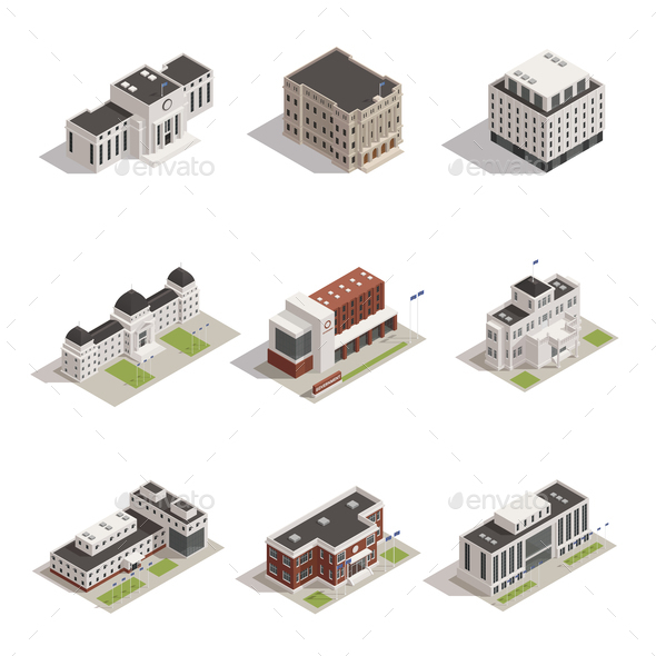 Government Buildings Isometric Icons Set - Buildings Objects