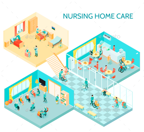Nursing Home Care Isometric Composition - Health/Medicine Conceptual