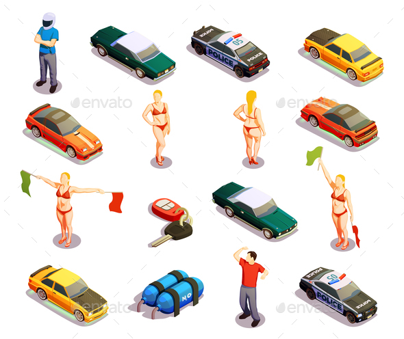 Automobile Racing Icon Set
