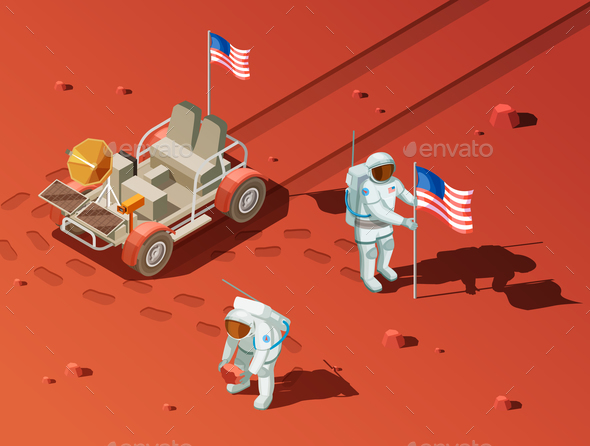 People on Mars Composition - Travel Conceptual