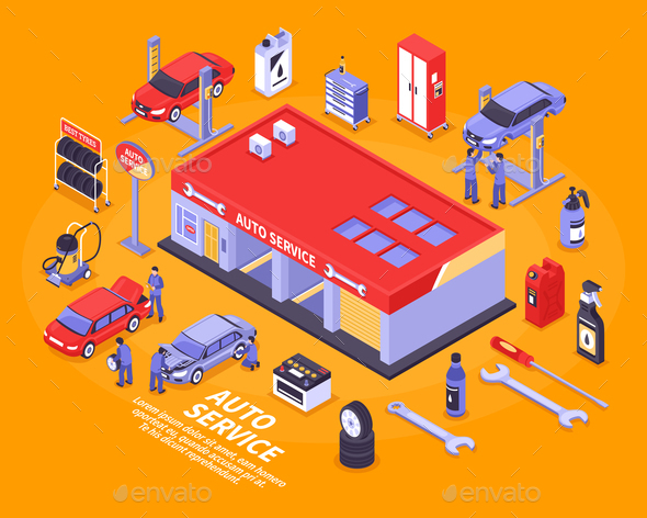 Isometric Auto Service Concept - Industries Business