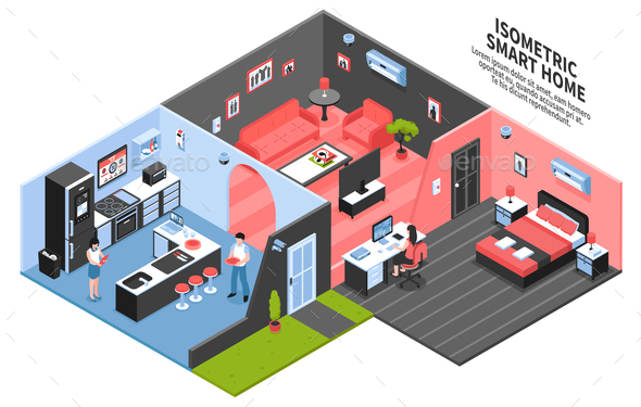 Isometric Smart Home Composition - Buildings Objects
