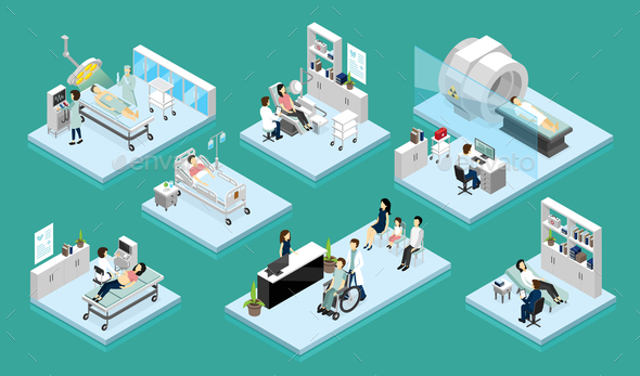 Doctor and Patient Isometric Compositions - Health/Medicine Conceptual