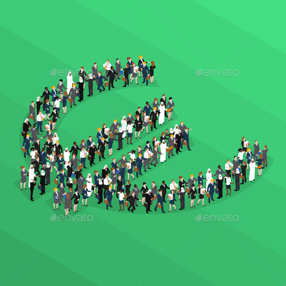 GraphicRiver Crowd People Isometric Euro Sign 20654565