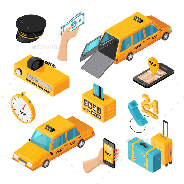 GraphicRiver Taxi Service Isometric Isolated Icons 20654566