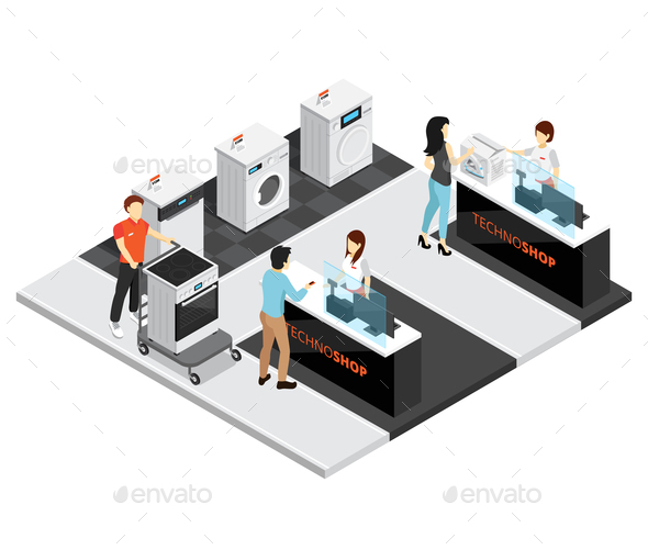 Household Appliances Shop Isometric Concept - Miscellaneous Vectors