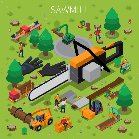 Sawmill Timber Mill Lumberjack Isometric Composition - Industries Business