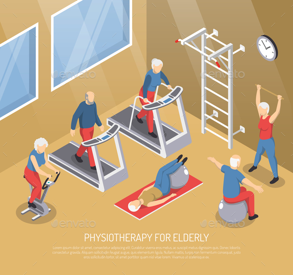 Physiotherapy for Elderly Isometric Vector Illustration - Sports/Activity Conceptual
