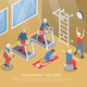 Physiotherapy for Elderly Isometric Vector Illustration