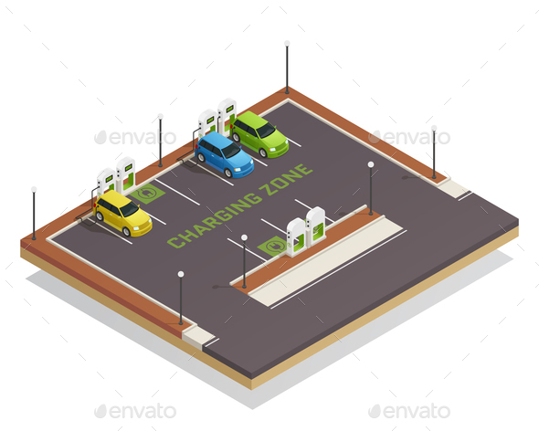 Ecology Isometric Electric Vehicles Charging - Industries Business