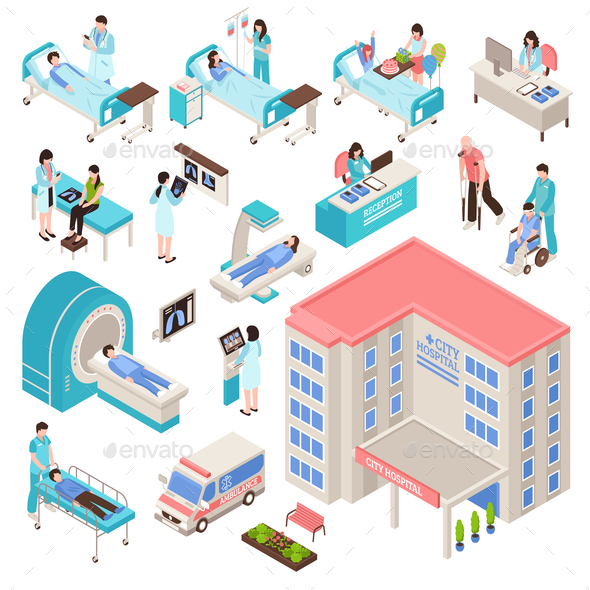 Hospital  Isometric Set - Health/Medicine Conceptual