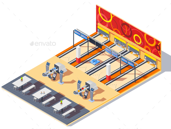 GraphicRiver Bowling Center Isometric Interior 20654583