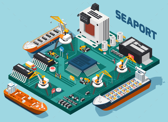 GraphicRiver Semiconductor Electronic Components Isometric Seaport Composition 20654586