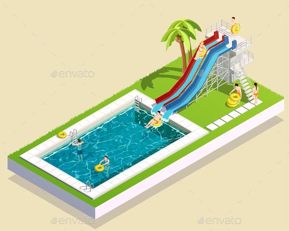 GraphicRiver Aqua Park Waterslide Composition 20654592