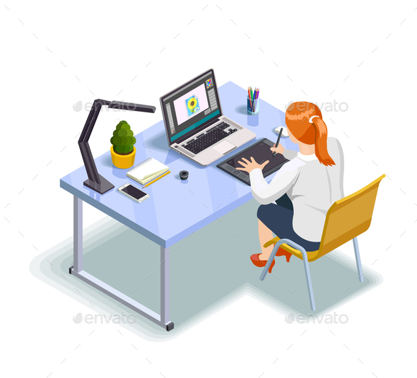 Graphic Designer Isometric Illustration - Computers Technology