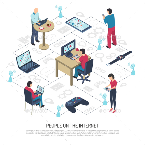 People on Internet Isometric Illustration - Web Technology