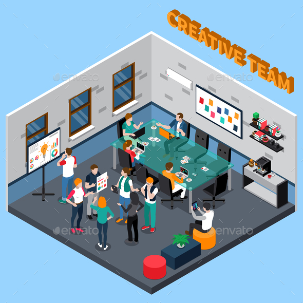 GraphicRiver Creative Team Isometric Illustration 20654595