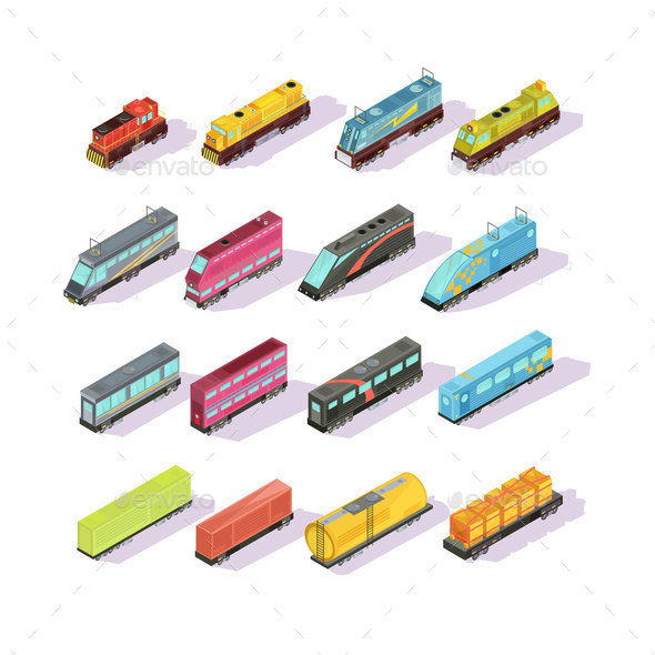GraphicRiver Train Carriage Isometric Set 20654597
