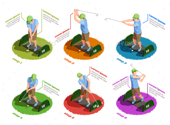 GraphicRiver Golf Players Isometric Isolated Icons 20654599
