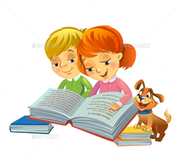 GraphicRiver Girl and Boy Reading Book 20654602