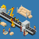 Electronics Factory Isometric Composition