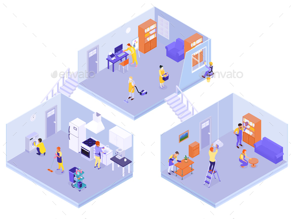 Interior House Cleaning Isometric Composition - Buildings Objects