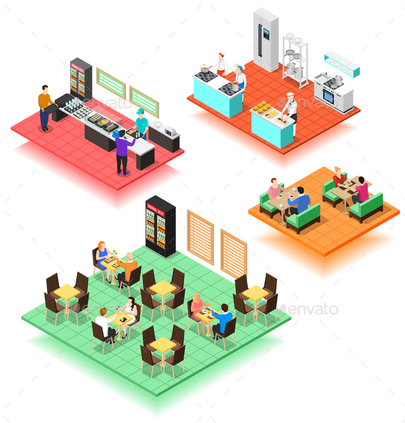 Set of Isometric Interiors of Fast Food Restaurant - Miscellaneous Vectors