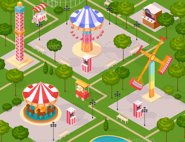 Summer Amusement Park for Children - Miscellaneous Vectors