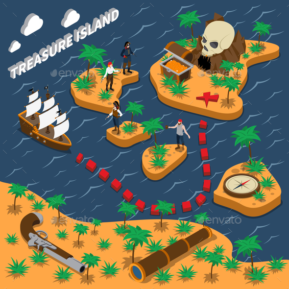GraphicRiver Treasure Island Isometric Composition 20654630