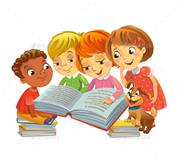GraphicRiver Children Reading Books 20654648