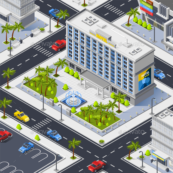 GraphicRiver Fragment of City with Luxury Hotel Building 20654672