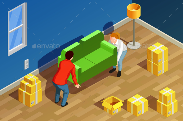 New Home Isometric Composition - People Characters