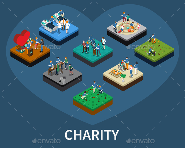 Volunteer and Charity Isometric Set - Miscellaneous Conceptual