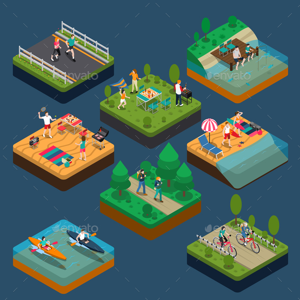 Isometric Activity People Composition - Sports/Activity Conceptual