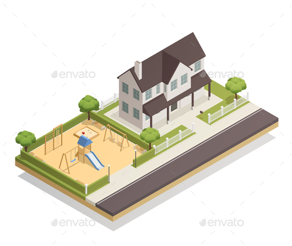Playground Near Residential House Isometric Composition - Buildings Objects