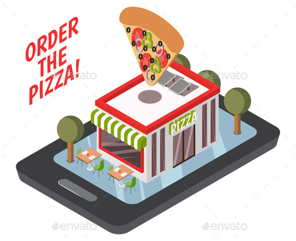 GraphicRiver Online Pizzeria Isometric Composition 20654686