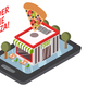 Online Pizzeria Isometric Composition