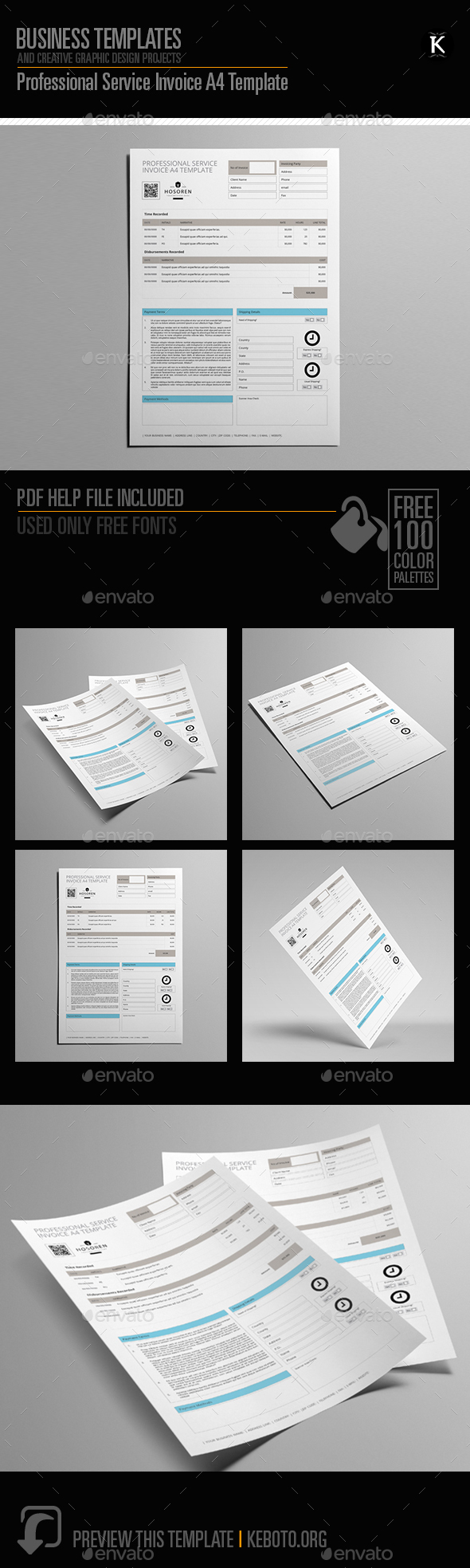Professional Service Invoice A4 Template - Miscellaneous Print Templates