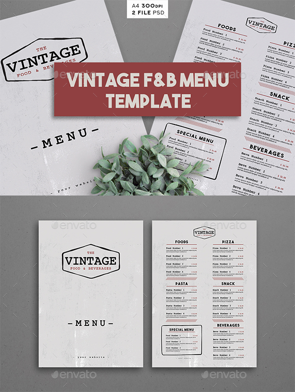 Vintage F&B Menu Template - Food Menus Print Templates