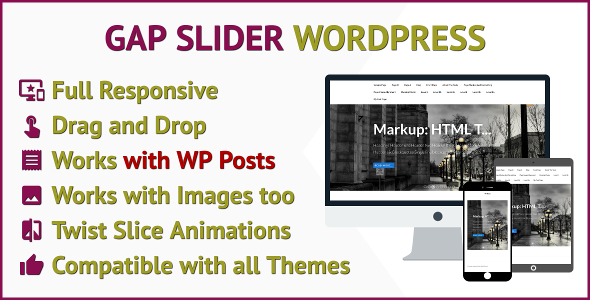 Source code              Gap Slider Responsive Slider for WordPress that works with WP Posts or Images            nulled