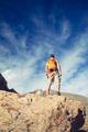 Man celebrating inspiring mountains view