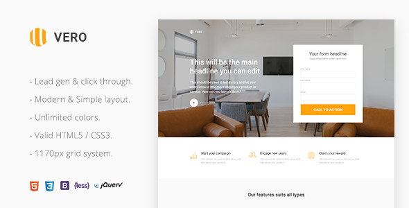 Image of Vero - Marketing Landing Page Html Template