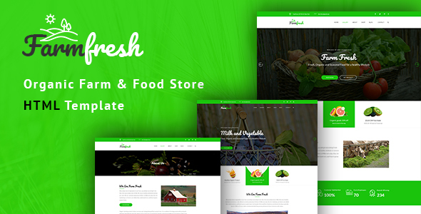 Farm Fresh – Organic Meals &amp Eco Farm HTML Template (Meals)