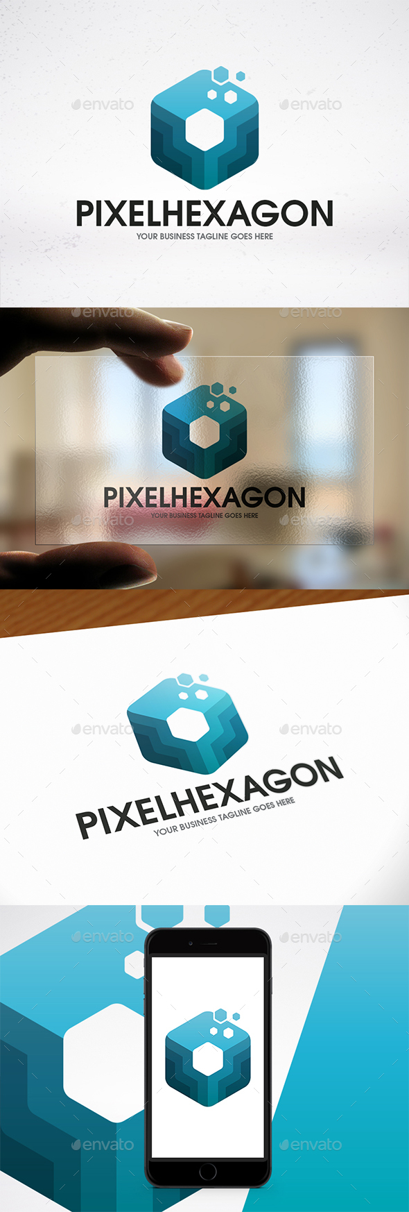 Pixel Hexagon Colorful Logo - Abstract Logo Templates